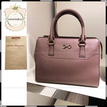 Salvatore Ferragamo Plain Leather Elegant Style Handbags