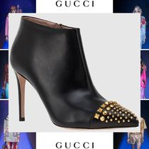 GUCCI Studded Plain Leather Pin Heels Elegant Style