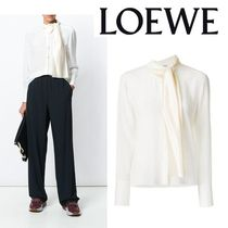 LOEWE Silk Long Sleeves Plain Medium Elegant Style