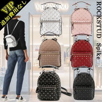VALENTINO Studded 2WAY Plain Leather Elegant Style Backpacks