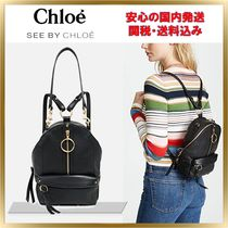 See by Chloe Unisex Plain Leather Backpacks