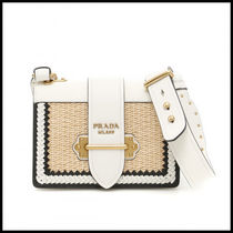 PRADA CAHIER Casual Style Blended Fabrics Studded Bi-color Leather