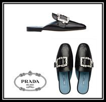 PRADA Round Toe Casual Style Plain Leather With Jewels Sandals