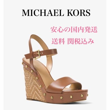 Open Toe Casual Style Studded Plain Leather