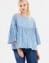 MaxMara Short Stripes Casual Style Boat Neck Cotton Cropped