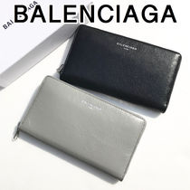 BALENCIAGA Plain Leather Long Wallet  Long Wallets