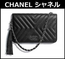 CHANEL Tassel 3WAY Chain Plain Leather Elegant Style Shoulder Bags