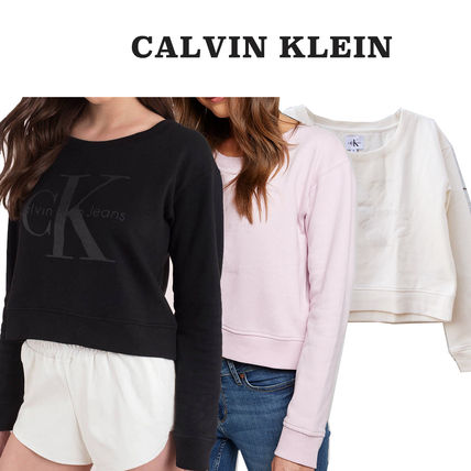 Crew Neck Short Long Sleeves Plain Cotton Cropped