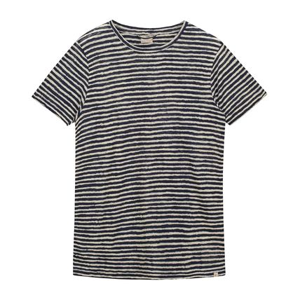 Crew Neck Stripes Linen Short Sleeves Crew Neck T-Shirts