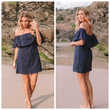 Short Casual Style Plain Cotton Dresses