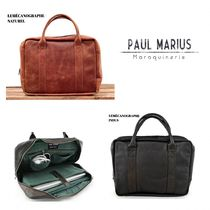PAUL MARIUS A4 Plain Leather Office Style Totes
