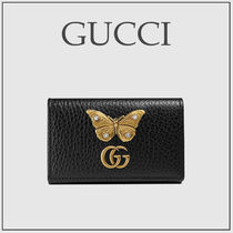 GUCCI GG Marmont Studded Plain Other Animal Patterns Leather With Jewels