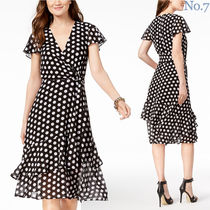 Michael Kors Wrap Dresses Dots Street Style V-Neck Medium Short Sleeves