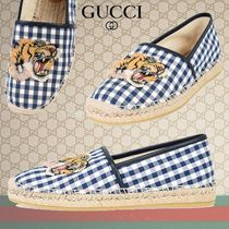 GUCCI Gingham Unisex Other Animal Patterns Loafers & Slip-ons