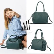 STATUS ANXIETY Casual Style Plain Leather Handbags