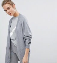 Nike Casual Style Long Sleeves Plain Cotton Long Gowns Cardigans