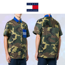 Tommy Hilfiger Button-down Camouflage Street Style Plain Cotton