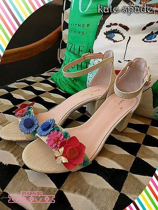 Flower Patterns Open Toe Block Heels Heeled Sandals