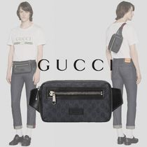 GUCCI Stripes Monogram Canvas Blended Fabrics Street Style