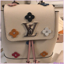 Louis Vuitton LOCKME Flower Patterns Casual Style Blended Fabrics Studded Plain
