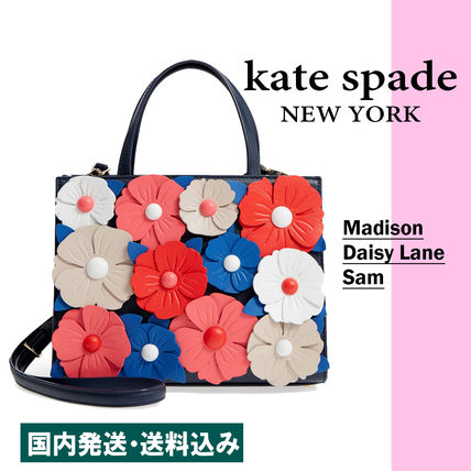 Flower Patterns 2WAY Leather Elegant Style Handbags