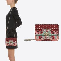 VALENTINO Flower Patterns Studded 2WAY Chain Leather With Jewels
