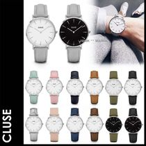 CLUSE Casual Style Leather Round Quartz Watches Analog Watches