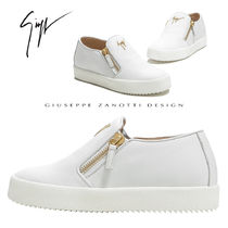 GIUSEPPE ZANOTTI Round Toe Casual Style Plain Leather Low-Top Sneakers