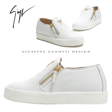 7fe7a92ad9802 ... GIUSEPPE ZANOTTI Low-Top Round Toe Casual Style Plain Leather Low-Top  Sneakers ...