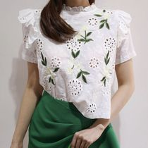 Short Flower Patterns Casual Style Long Sleeves Cotton