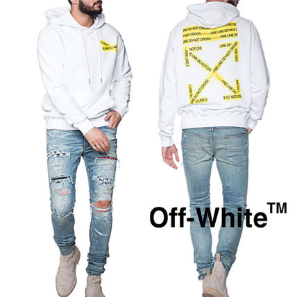Off-White Hoodies Crew Neck Pullovers Sweat Street Style Long Sleeves