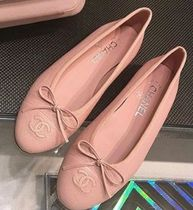 CHANEL Round Toe Casual Style Plain Ballet Shoes