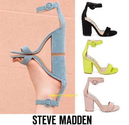 0675577ab9a ... Steve Madden Low-Top Open Toe Casual Style Street Style Plain Leather  Block Heels ...