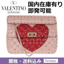 VALENTINO Heart Studded 2WAY Chain Leather Handbags