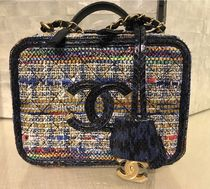 CHANEL Other Check Patterns Blended Fabrics Vanity Bags Chain