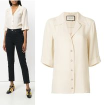GUCCI Silk Cropped Plain Shirts & Blouses