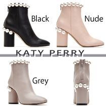 Katy Perry Plain Leather Block Heels Party Style Ankle & Booties Boots
