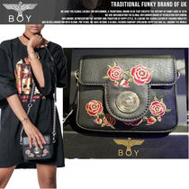 BOY LONDON Casual Style Faux Fur Studded Chain Shoulder Bags
