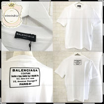 BALENCIAGA U-Neck Plain Cotton Short Sleeves T-Shirts
