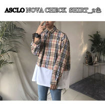 ASCLO Other Check Patterns Street Style Long Sleeves Cotton Shirts