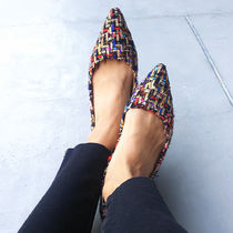 Casual Style Tweed Flats