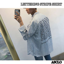 ASCLO Stripes Street Style Long Sleeves Cotton Shirts