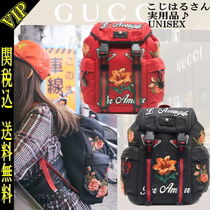 GUCCI Flower Patterns Casual Style 2WAY PVC Clothing Backpacks