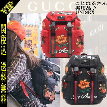 Flower Patterns Casual Style 2WAY PVC Clothing Backpacks