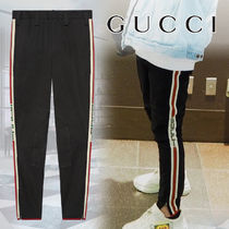 GUCCI Stripes Plain Cotton Joggers & Sweatpants