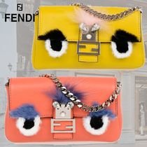 FENDI BAGUETTE Casual Style 3WAY Chain Plain Leather With Jewels