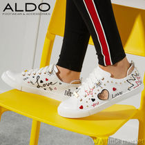 ALDO Heart Round Toe Casual Style Faux Fur Low-Top Sneakers