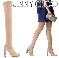 Jimmy Choo Round Toe Suede Plain Block Heels Over-the-Knee Boots