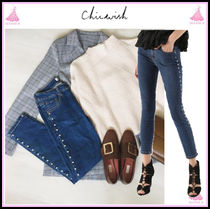 Chicwish Casual Style Denim Long With Jewels Skinny Jeans