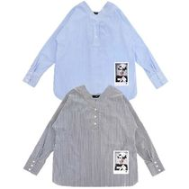 FIFI LAPIN Stripes Casual Style Studded Long Sleeves Cotton Medium